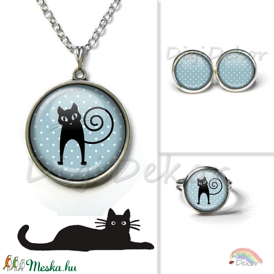 33a53a2051 Cica sziluettes, kék pettyes nyaklánc, cicás medál, macskás ékszerszett,  pöttyös ékszer, fekete macska