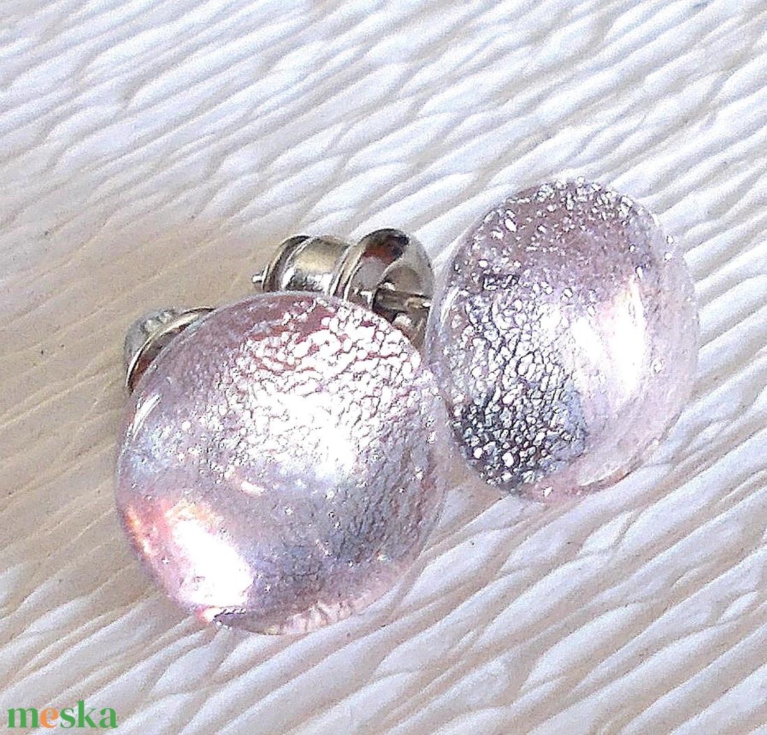 Ezüstös rózsafény  fülbevaló, ajándék  névnapra, születésnapra. - ékszer - fülbevaló - pötty fülbevaló - Meska.hu