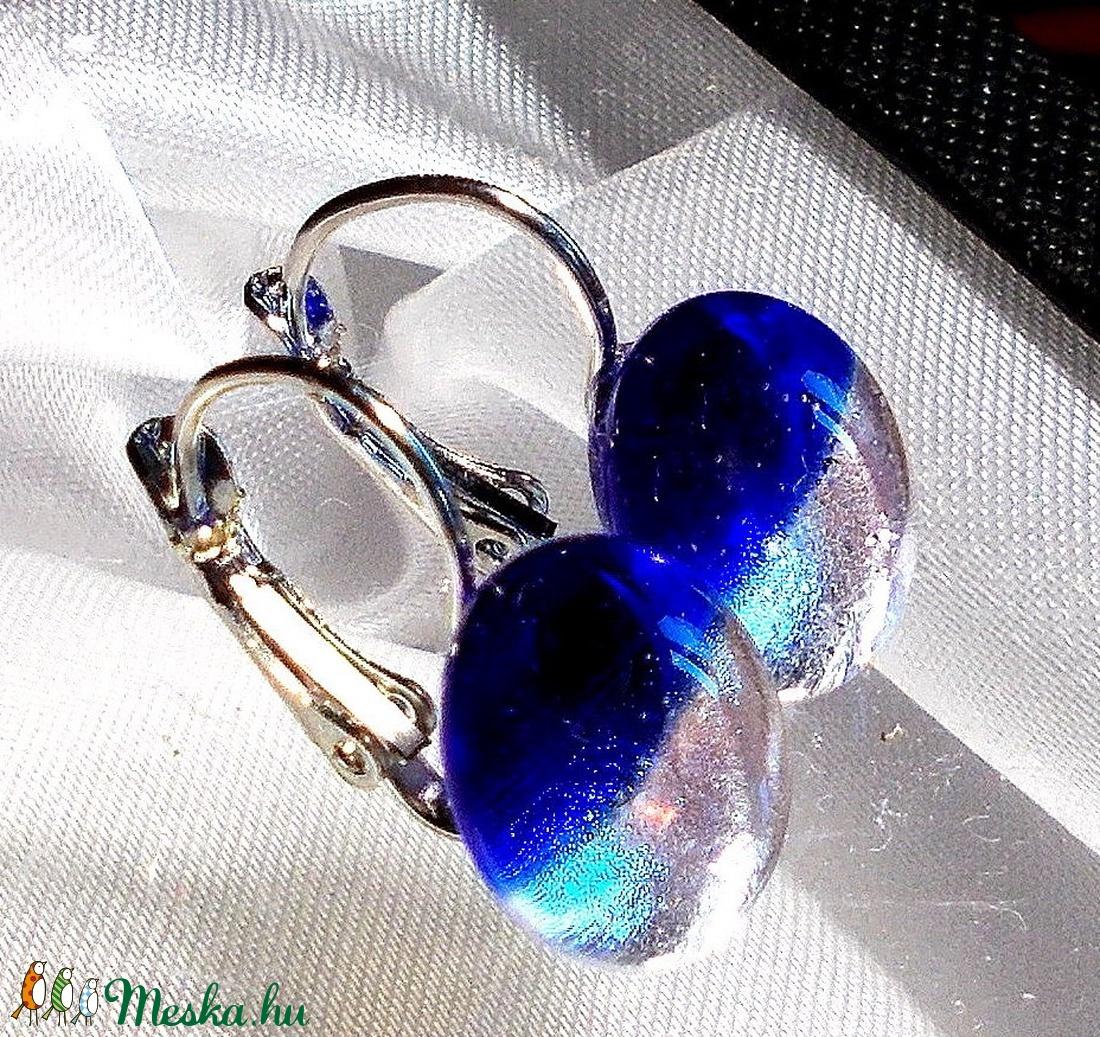 NEMESACÉL! Királykék-ezüst fúzió kapcsos fülbevaló, ajándék nőknek névnapra, születésnapra.  - ékszer - fülbevaló - lógó fülbevaló - Meska.hu