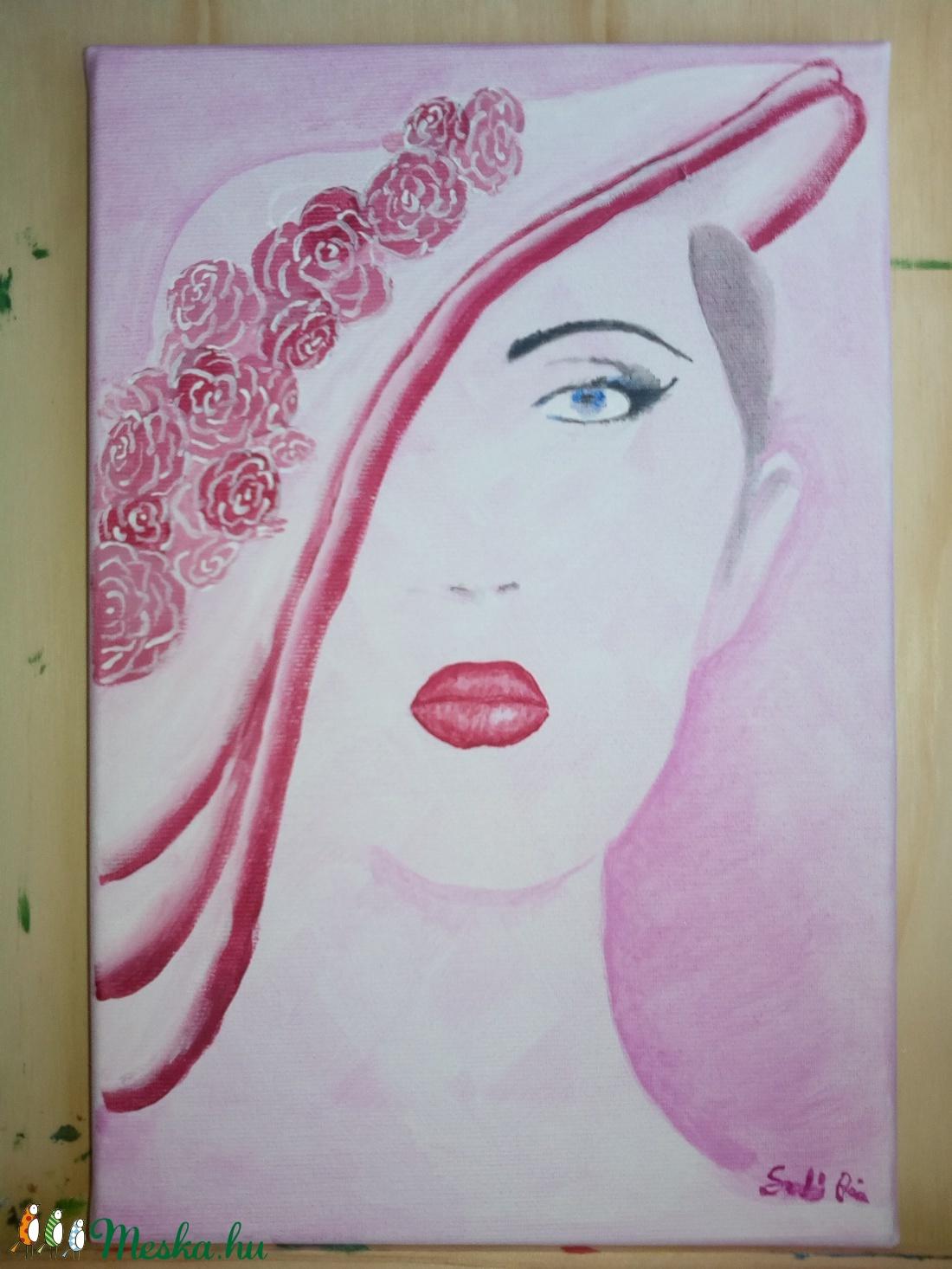 Rózsaszín kalapos hölgy 20x30 - művészet - festmény - akril - Meska.hu