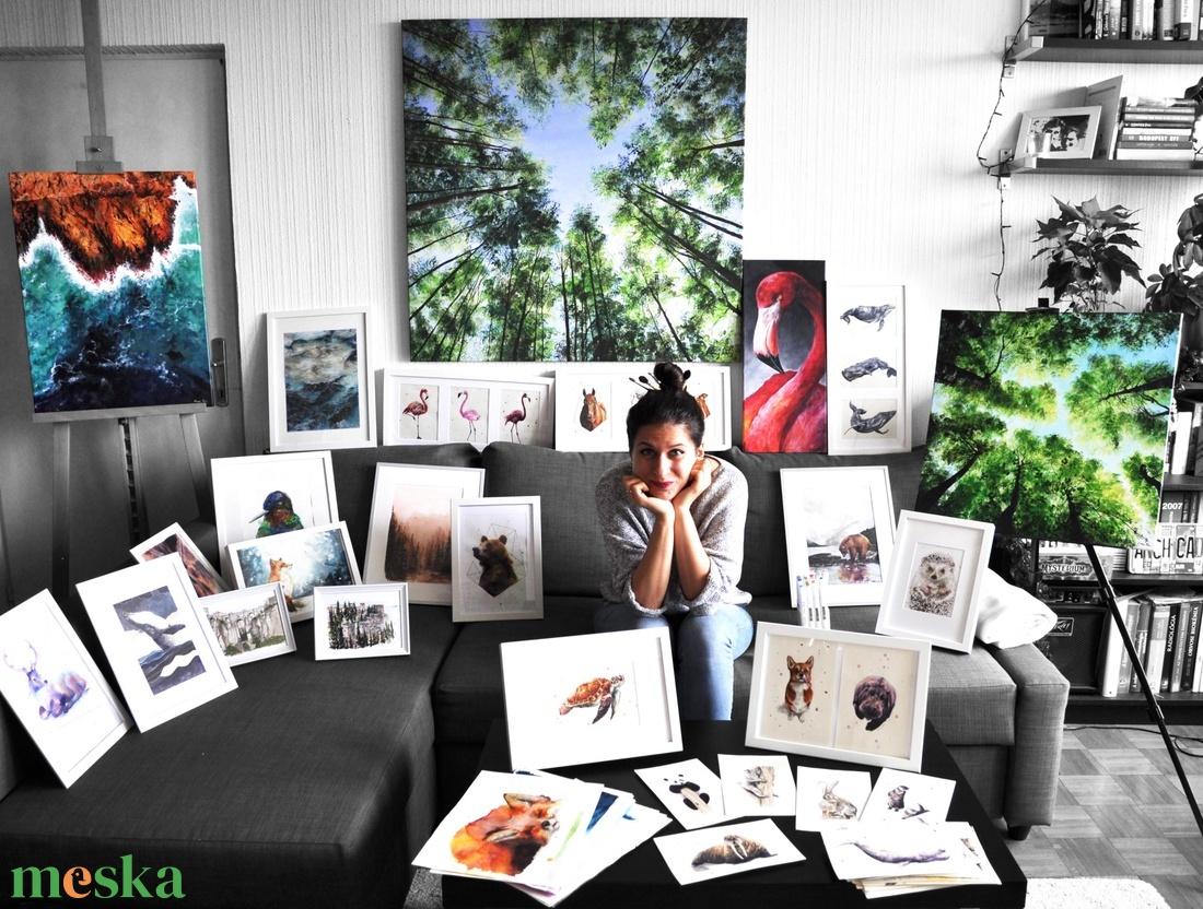 Nyuszi portré  - akvarell festmény (nyomat) - otthon & lakás - dekoráció - kép & falikép - Meska.hu