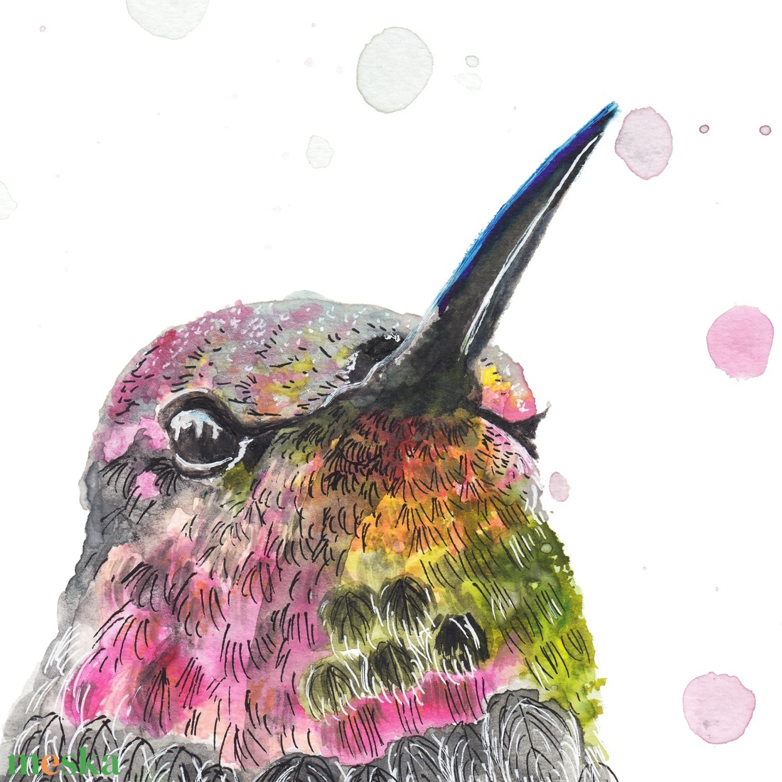 Pöttyös kolibri - akvarell festmény (nyomat) - művészet - művészi nyomat - Meska.hu