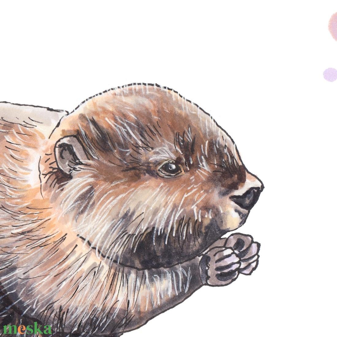 Hód - ecsetfilc festmény (nyomat) - művészet - festmény - akvarell - Meska.hu