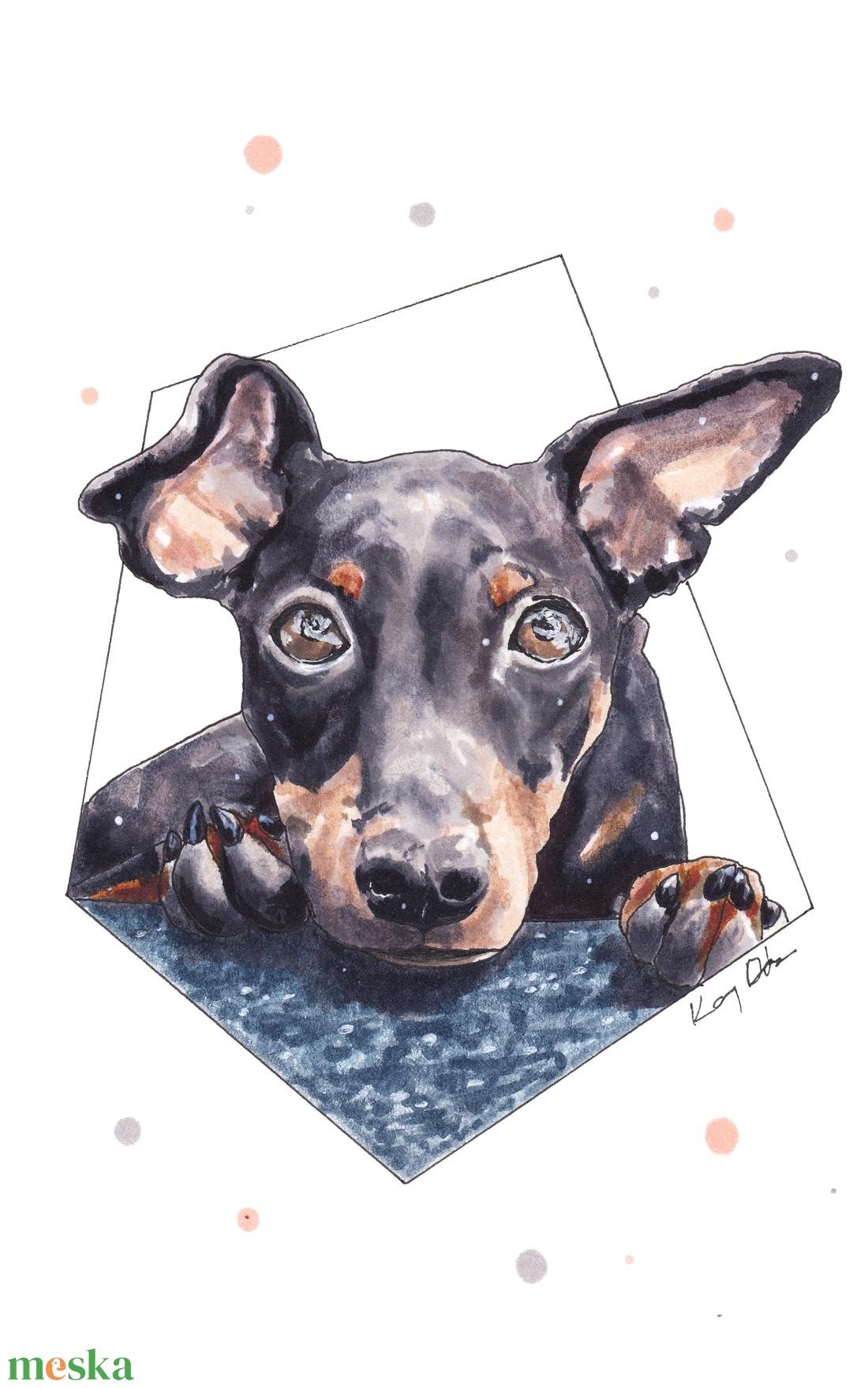 Tacskó - ecsetfilc festmény (nyomat) - művészet - festmény - akvarell - Meska.hu