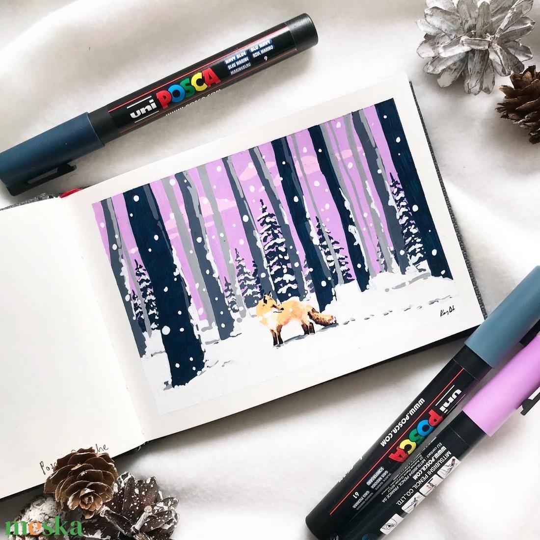 Hóesés - Művészeti nyomat (az eredeti akril filc rajz alapján) - művészet - művészi nyomat - Meska.hu