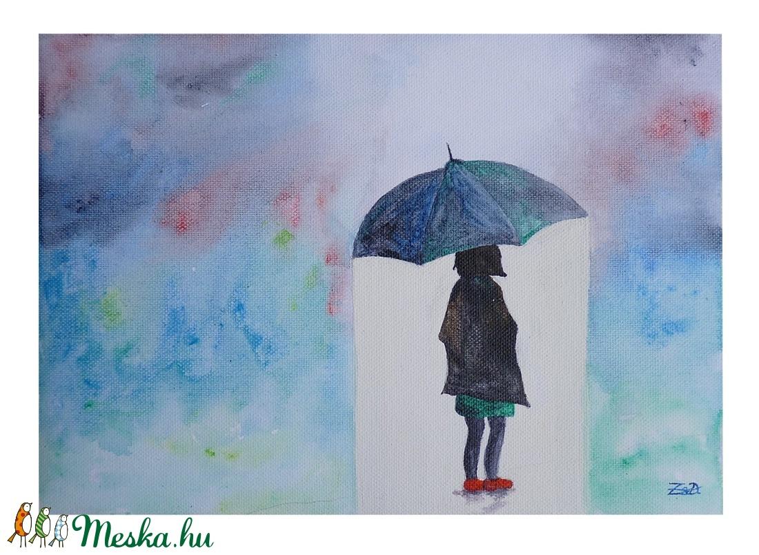Kislány az esőben akril festmény (DorczyArt) - Meska.hu