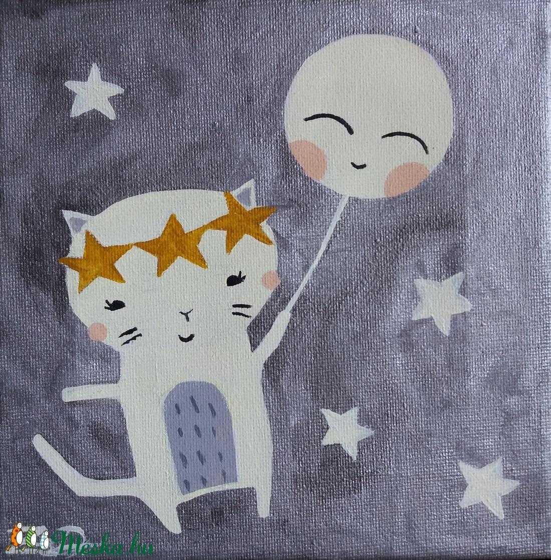 Cica hold lufival festmény - lány gyerekszoba dekoráció (DorczyArt) - Meska.hu