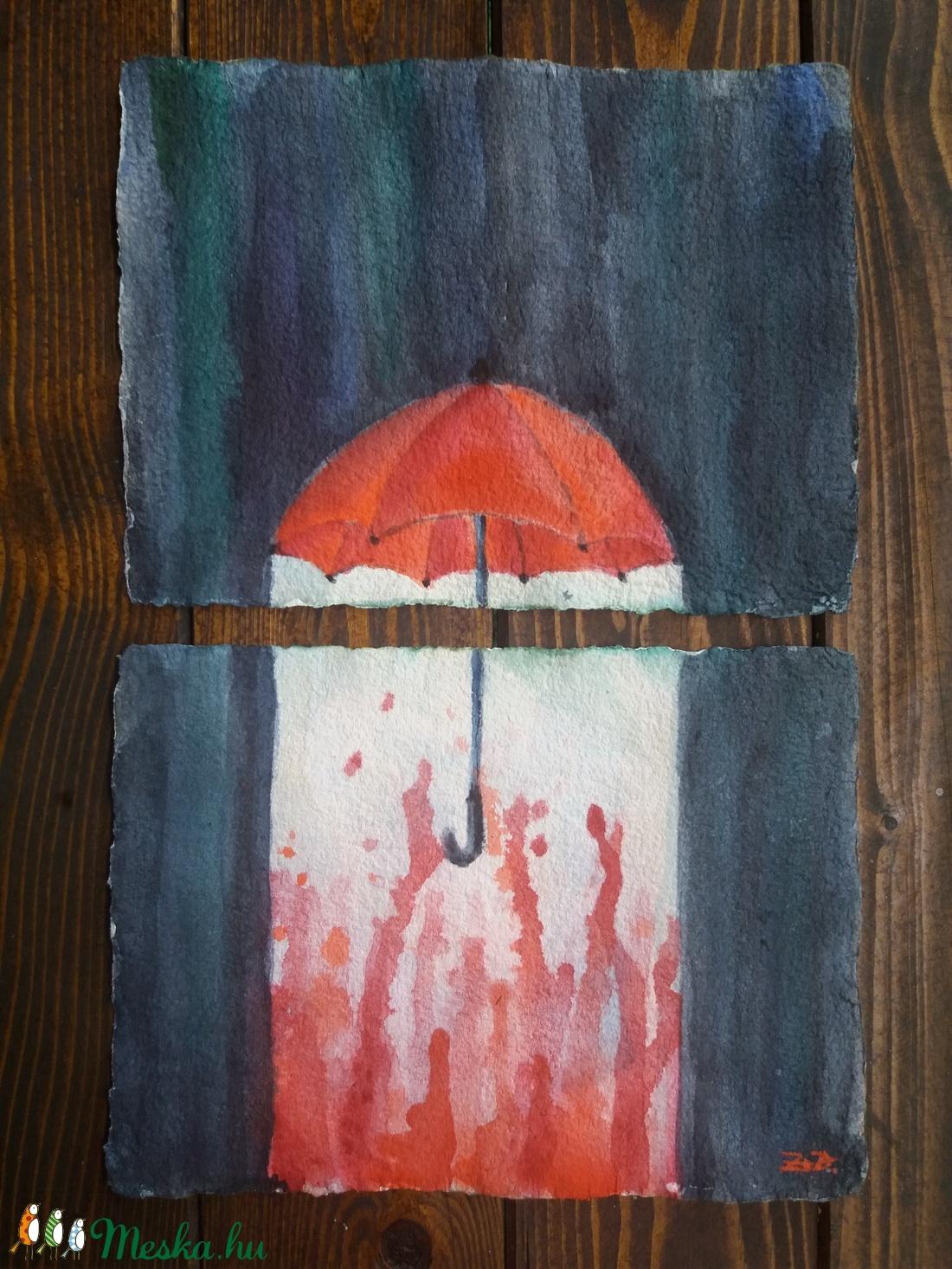 Szerelem-eső akvarell festmény, robbantott festmény, 2 részes kép (DorczyArt) - Meska.hu
