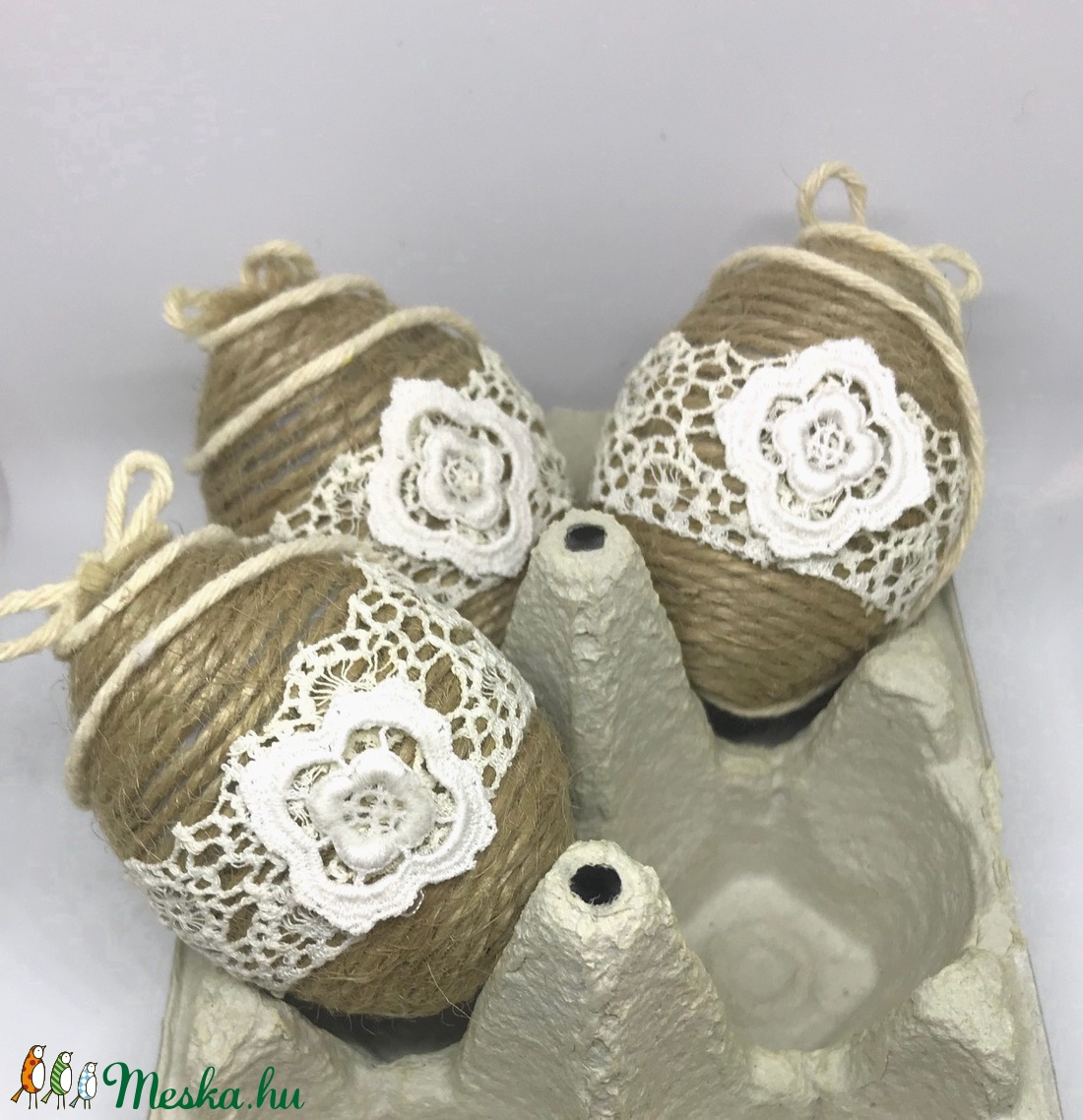 Húsvéti tojás klasszikus 3 db-os - természetes anyagokból - ünnepi dekoráció - kézzel készült - függeszthető dísz (Edian) - Meska.hu