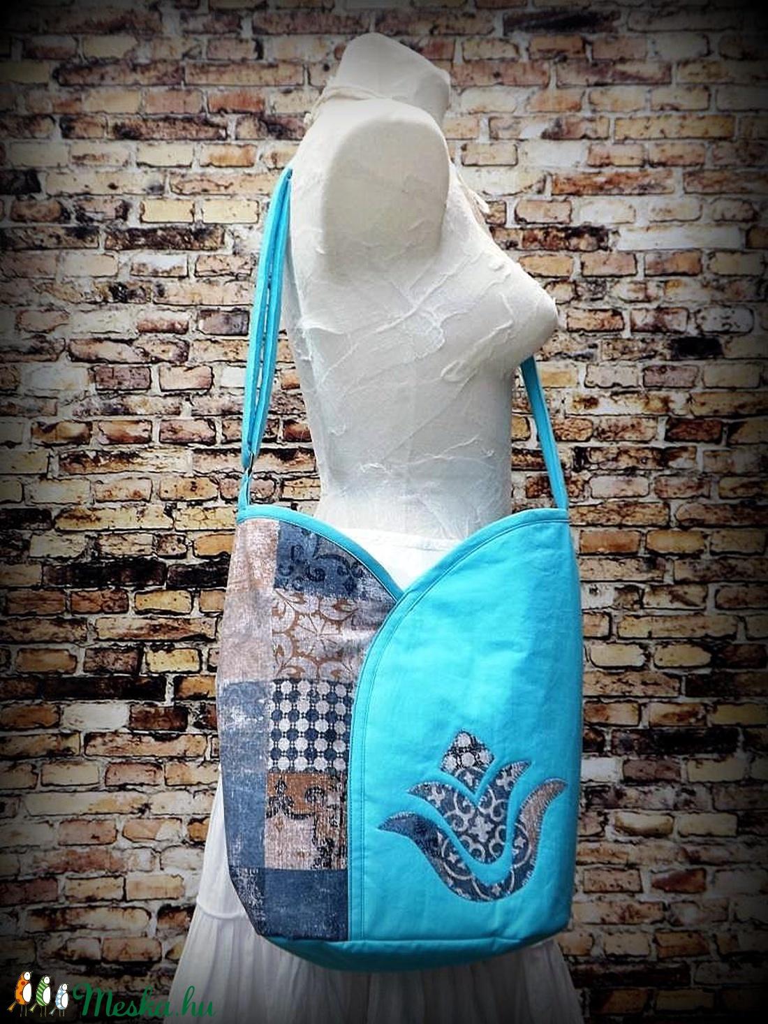 Tulipános táska- átvetős ( cross body )- Komor csempe és türkiz ...