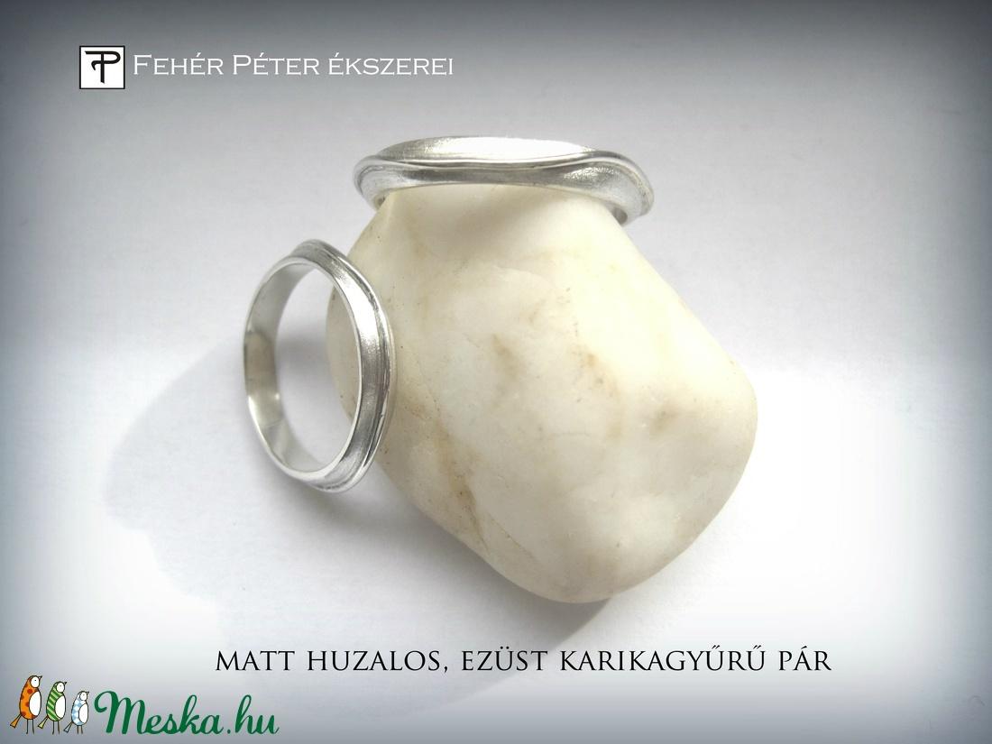 Matt huzalos karikagyűrű pár ezüstből (egszeresz) - Meska.hu