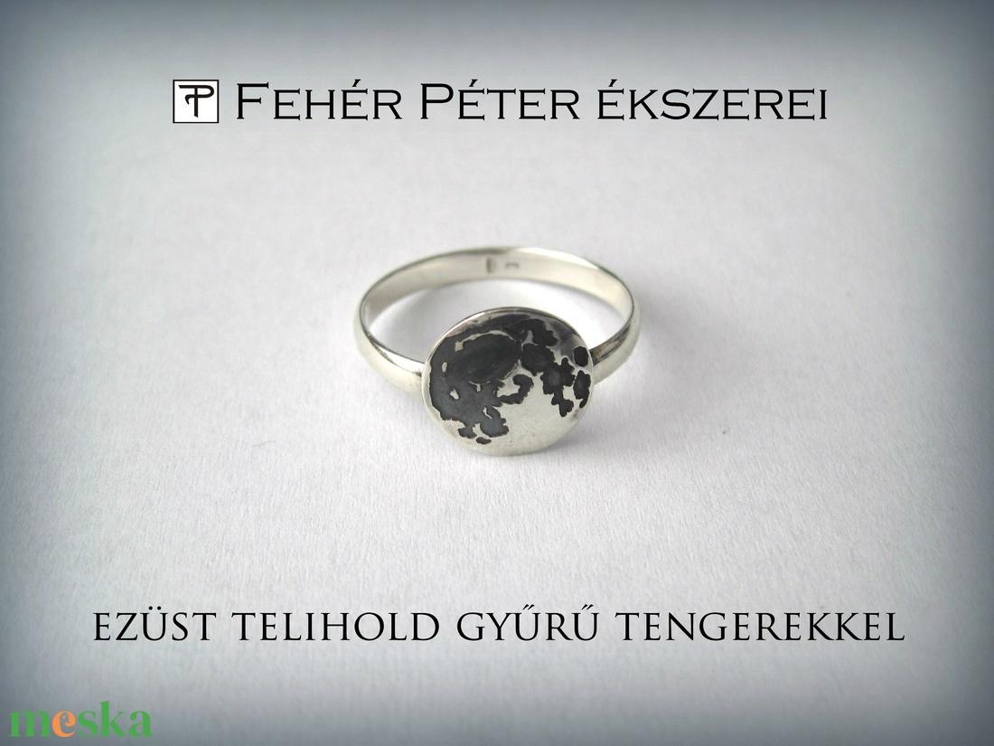 Ezüst telihold gyűrű tengerekkel. (egszeresz) - Meska.hu