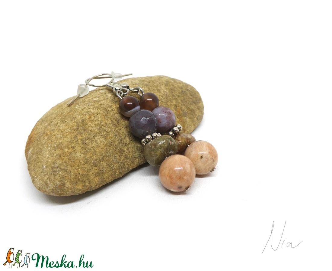 Az ősz léptei - ásványfülbevaló - ékszer - fülbevaló - lógó fülbevaló - Meska.hu