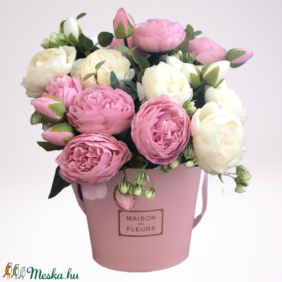 Bazsarózsa csokor rózsaszín dísz dobozban - otthon & lakás - dekoráció - Meska.hu