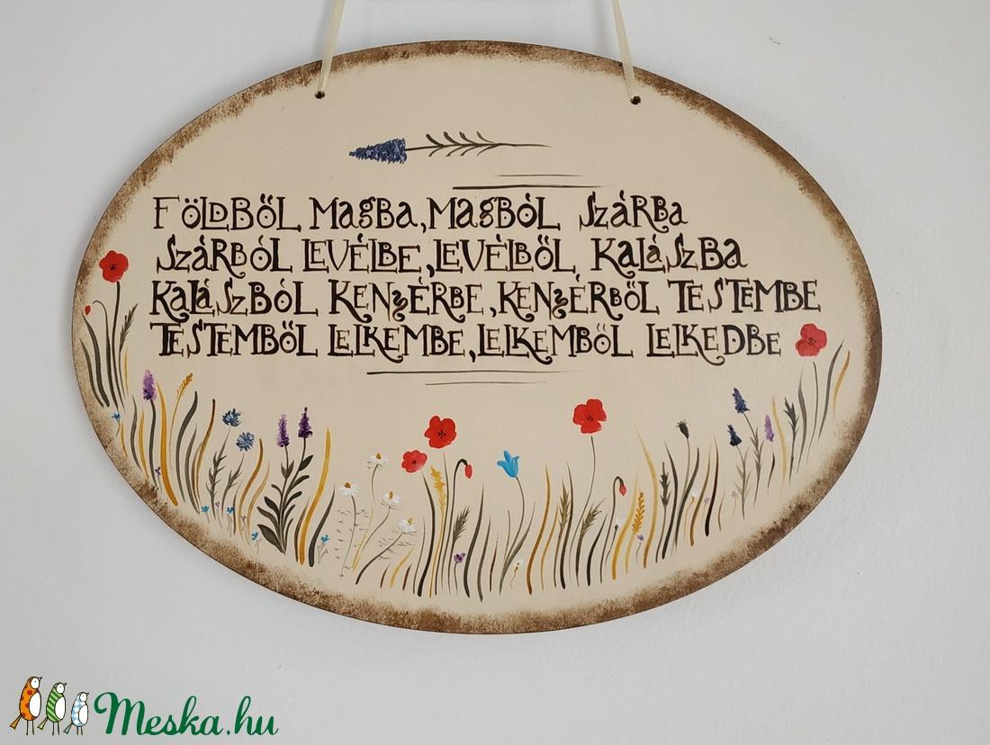 Mezei virágos ovális tábla imával - Meska.hu