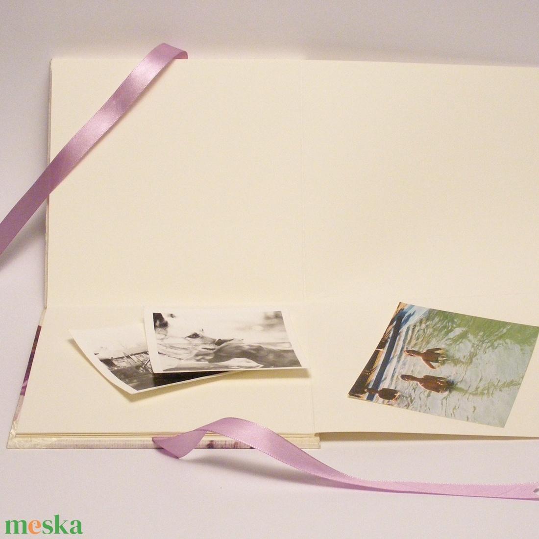 Romantikus fotóalbum, levendulás fényképalbum esküvőre, fehér gyűrt selyem és papír borító, szalaggal 1. - esküvő - emlék & ajándék - album & fotóalbum - Meska.hu