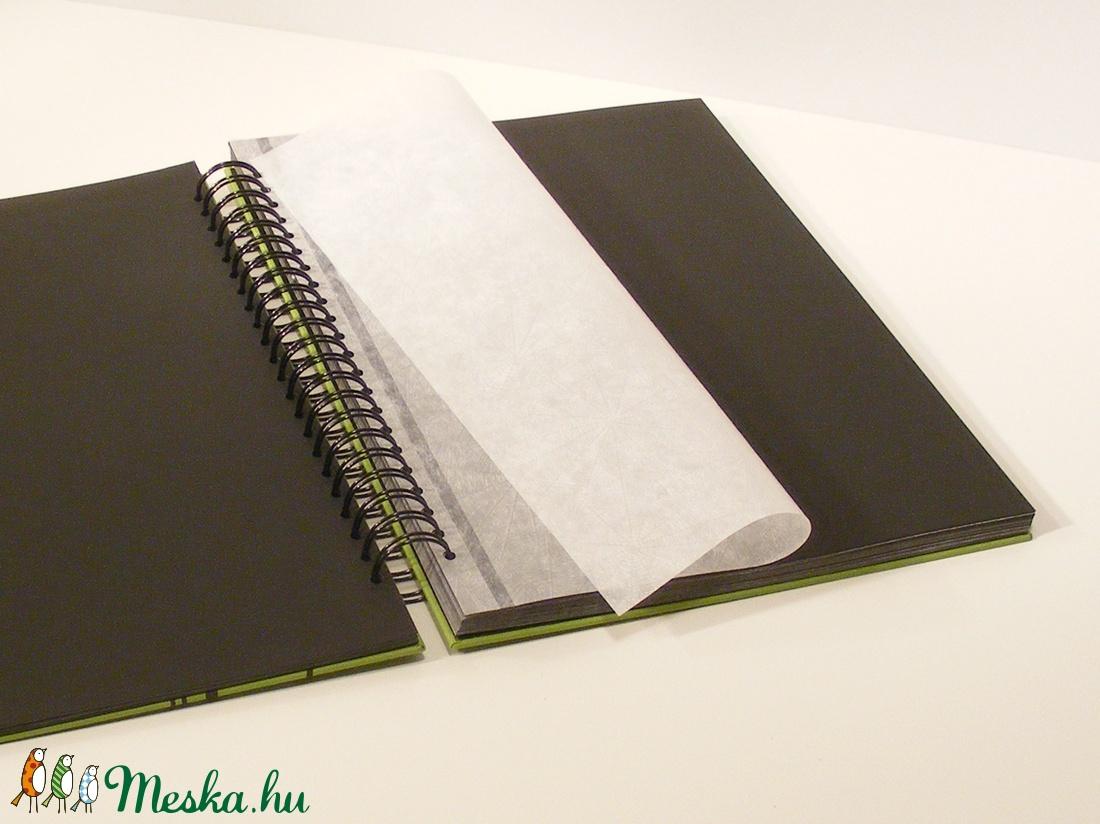 Fotóalbum vászon borítóval, spirál kötés, fekete lapok és pókpapír, minimál design - otthon & lakás - papír írószer - album & fotóalbum - Meska.hu