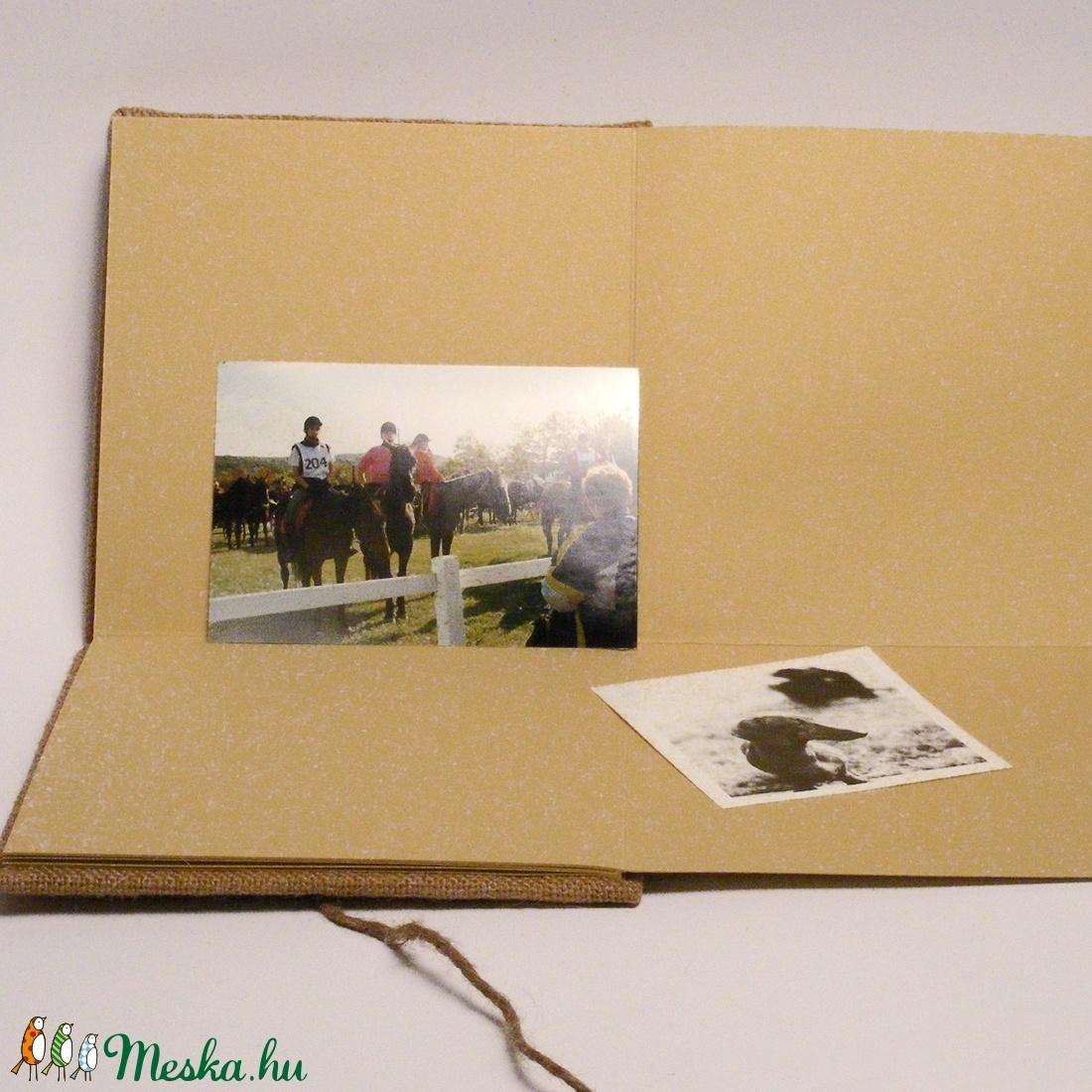 Fotóalbum, scrapbook album, rusztikus album párnázott zsákvászon borító, bőrgomb - otthon & lakás - papír írószer - album & fotóalbum - Meska.hu