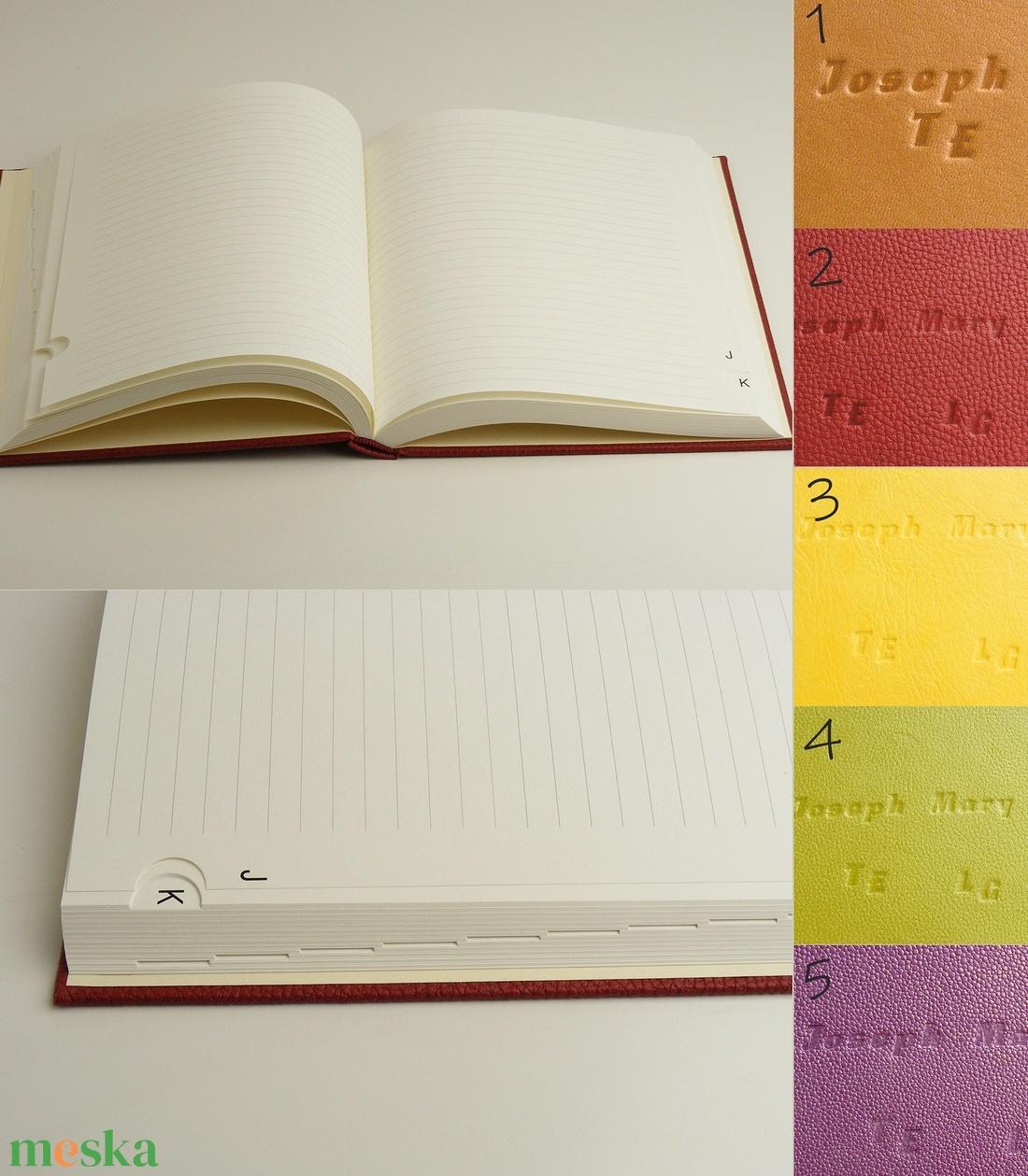 Regiszteres könyv B5 méretben. Kézzel fűzött könyv vonalas lapokkal, regiszterrel, műbőr borító, névreszólóan kérhető - otthon & lakás - papír írószer - jegyzetfüzet & napló - Meska.hu