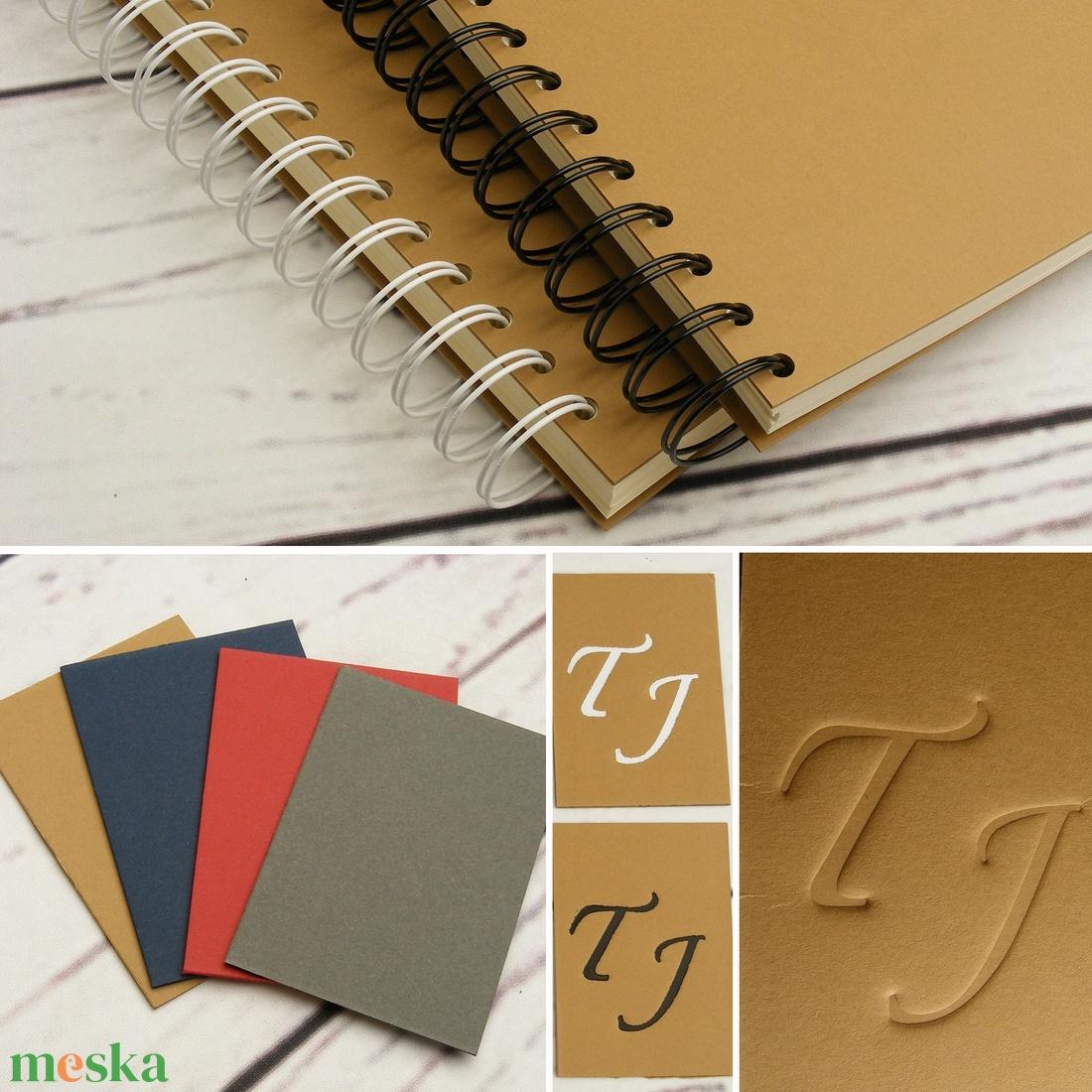 Barna spirálfüzet, fehér spirál, A4 méretű spirálozott füzet. Személyre szabható, névvel, keresztnévvel vagy monogrammal - otthon & lakás - papír írószer - jegyzetfüzet & napló - Meska.hu