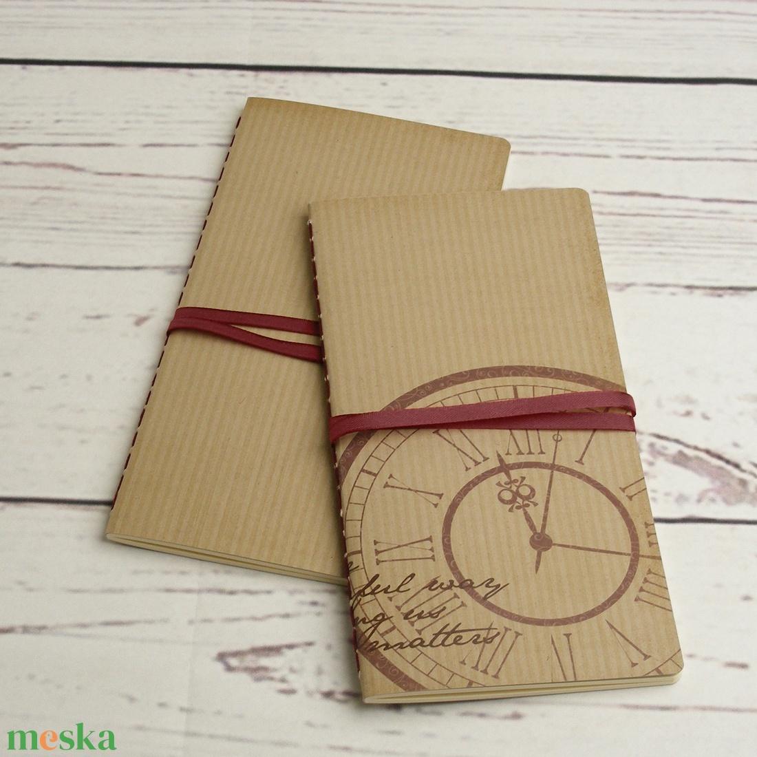 2 db-os füzetcsomag, régimódi, vintage füzetek csíkos és mintás borítóval, keskeny, hosszúkás forma, szaténszalag átkötő - otthon & lakás - papír írószer - jegyzetfüzet & napló - Meska.hu