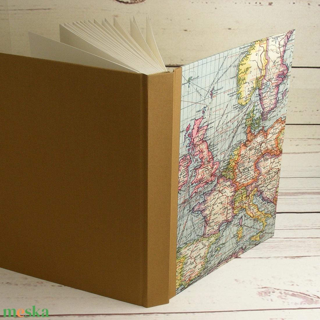 Nagyméretű fotóalbum, utazási album, fényképalbum, emlék utazóknak. Borítón régi Európa-térkép és vászon, kézzel fűzött - otthon & lakás - papír írószer - album & fotóalbum - Meska.hu