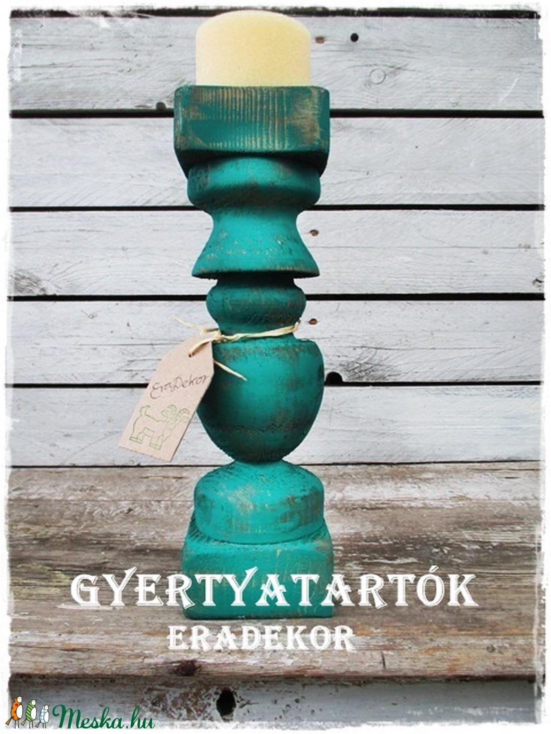 Vintage türkiz gyertyatartó - otthon & lakás - dekoráció - Meska.hu