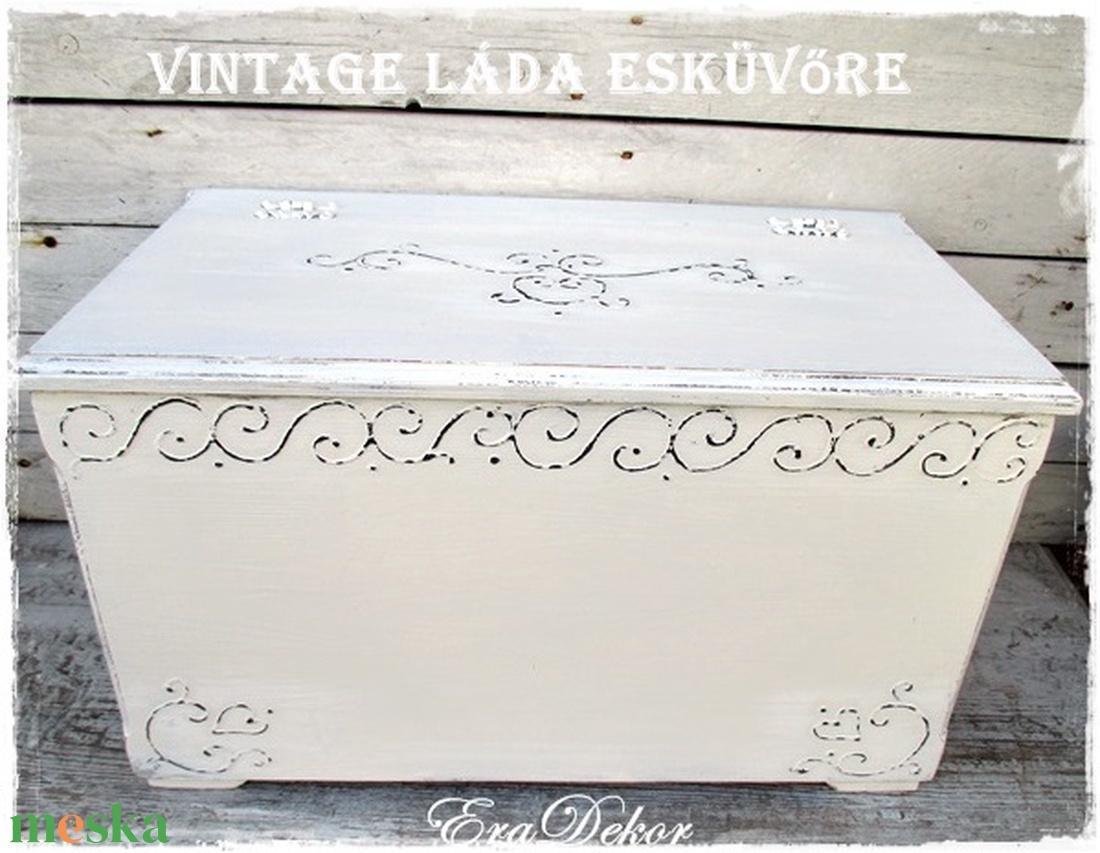 Antikolt fehér vintage láda - otthon & lakás - bútor - Meska.hu