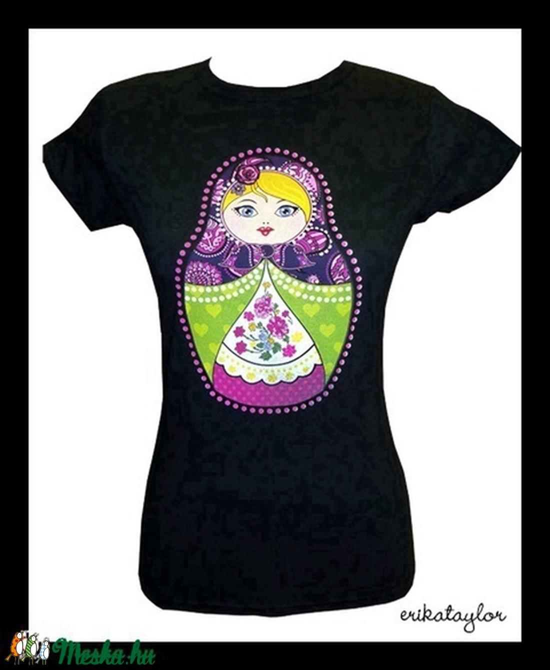 Matrjoska póló (S-es, fekete) - ruha & divat - női ruha - póló, felső - Meska.hu