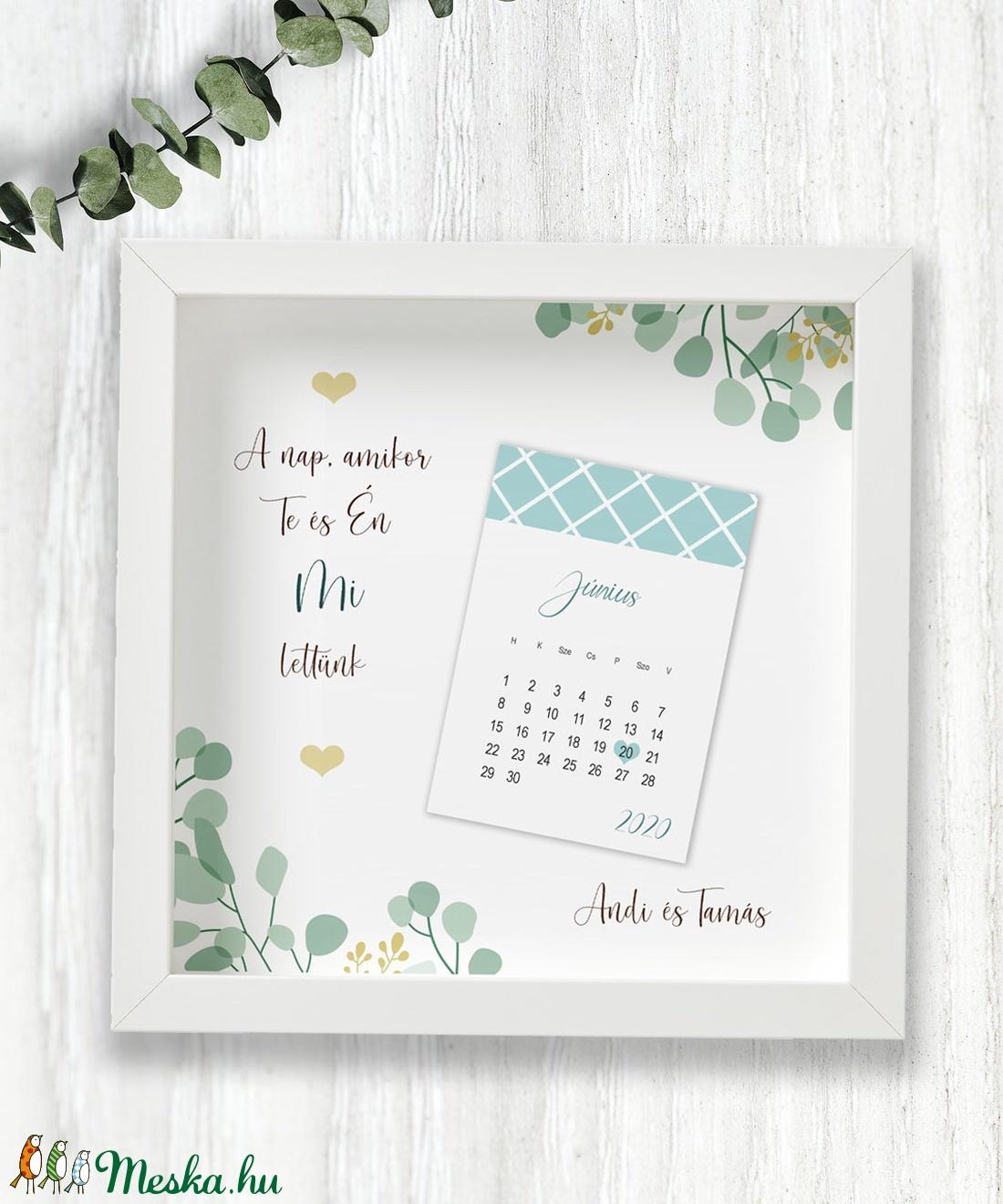 Esküvő napja- kreatív dátumos kép képkeretben/kék (EszDor) - Meska.hu