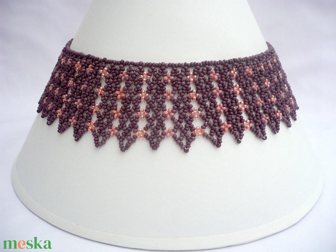 lila-púder rózsaszín széles gyöngygallér, gyöngynyaklánc - ékszer - nyaklánc - nyakpánt, gallér - Meska.hu