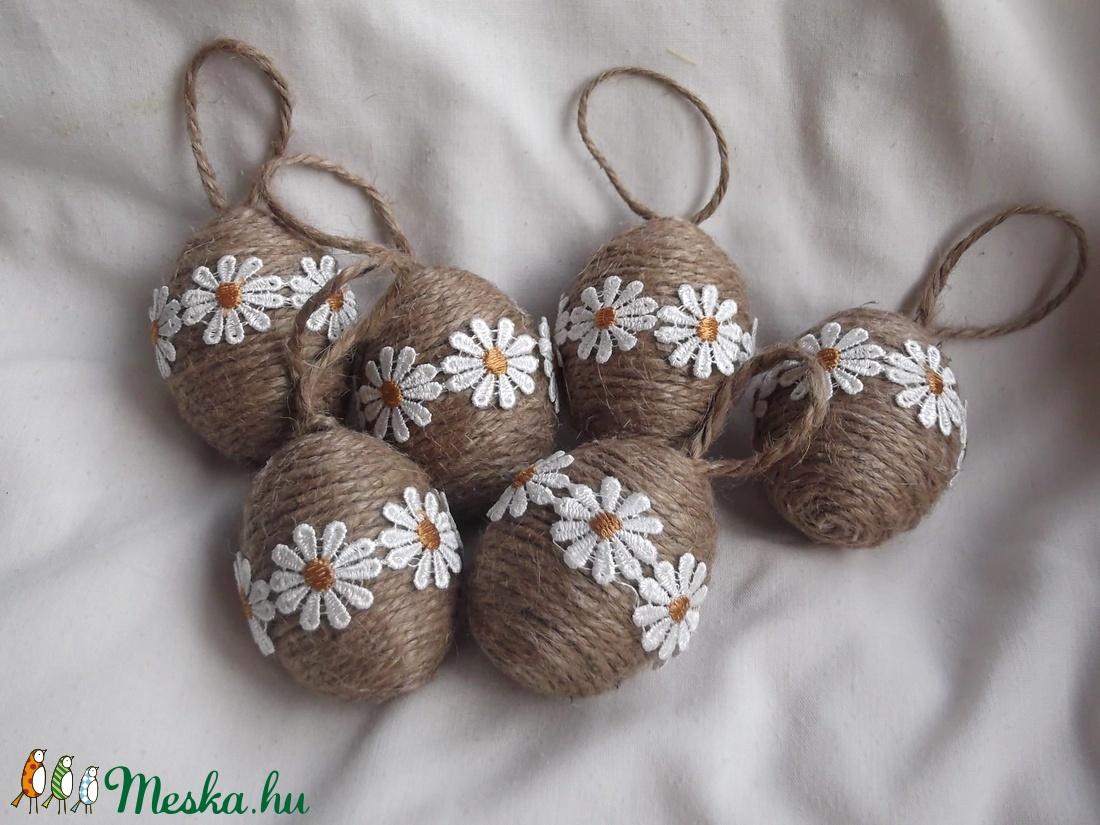 Natúr húsvét margarétával - 6 db tojás - Meska.hu