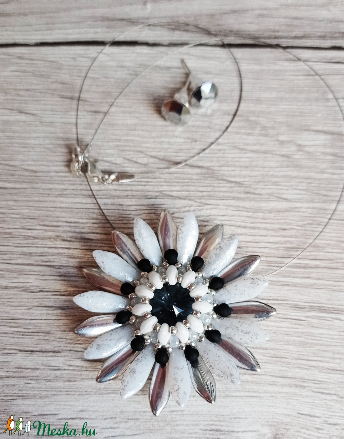 Harmatos ezüst virág szett - ékszer - ékszerszett - Meska.hu