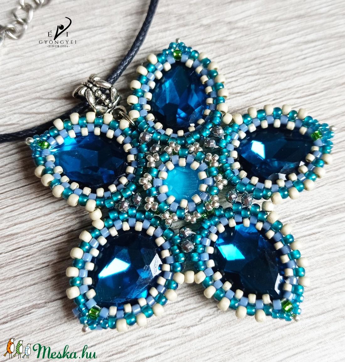 Kék csillagvirág - ékszer - nyaklánc - medálos nyaklánc - Meska.hu