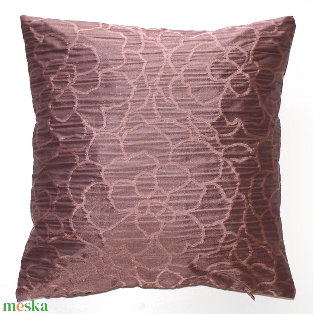 Csokoládé barna elegáns párna, klasszikusz stílusú díszpárna, Virág mintás díszpárna, párnahuzat + belső párna (40x40cm) - otthon & lakás - lakástextil - párna & párnahuzat - Meska.hu