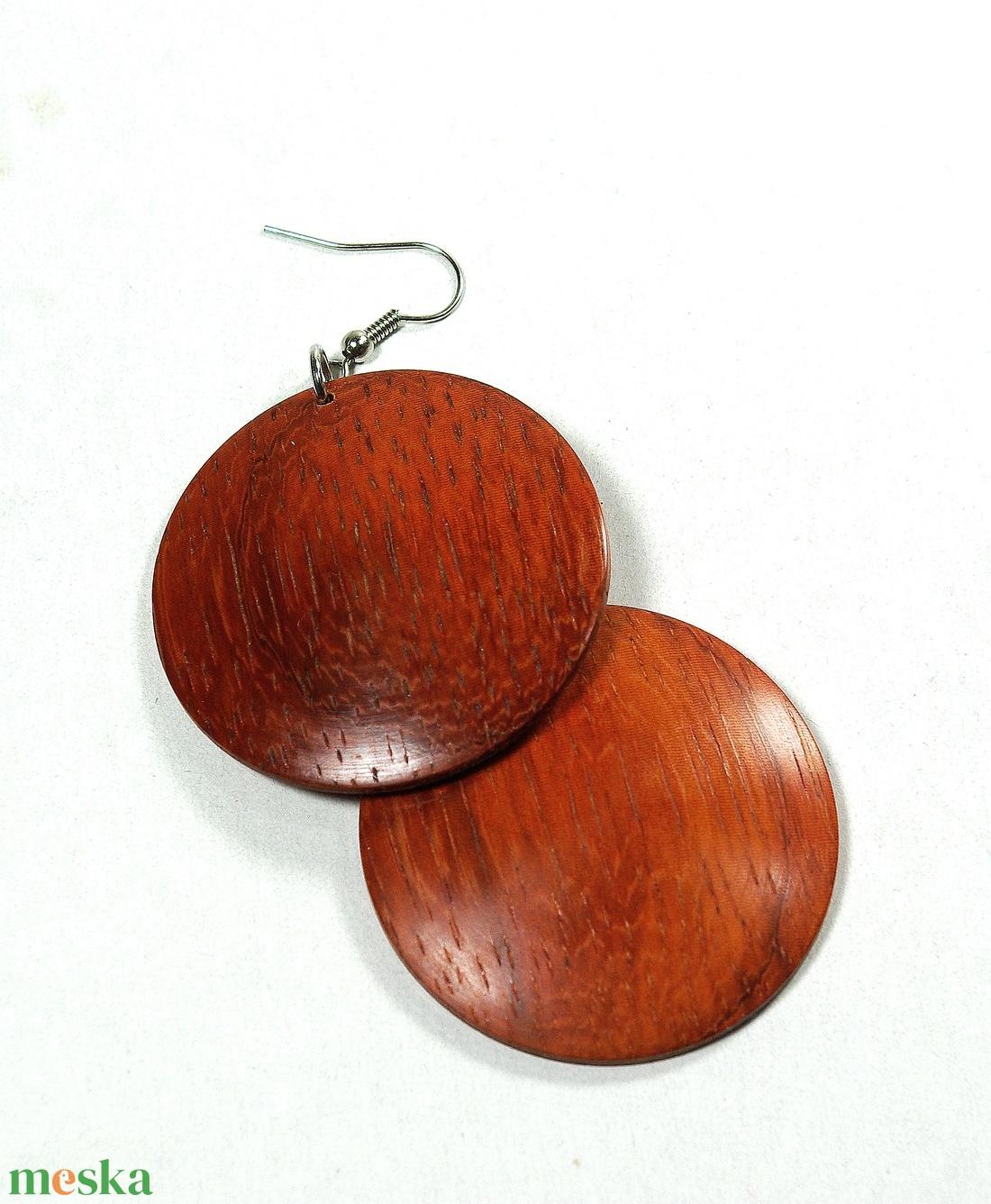 Fülbevaló paduk fából - egyedi, finom kidolgozású kézműves termék - ékszer - fülbevaló - lógós kerek fülbevaló - Meska.hu