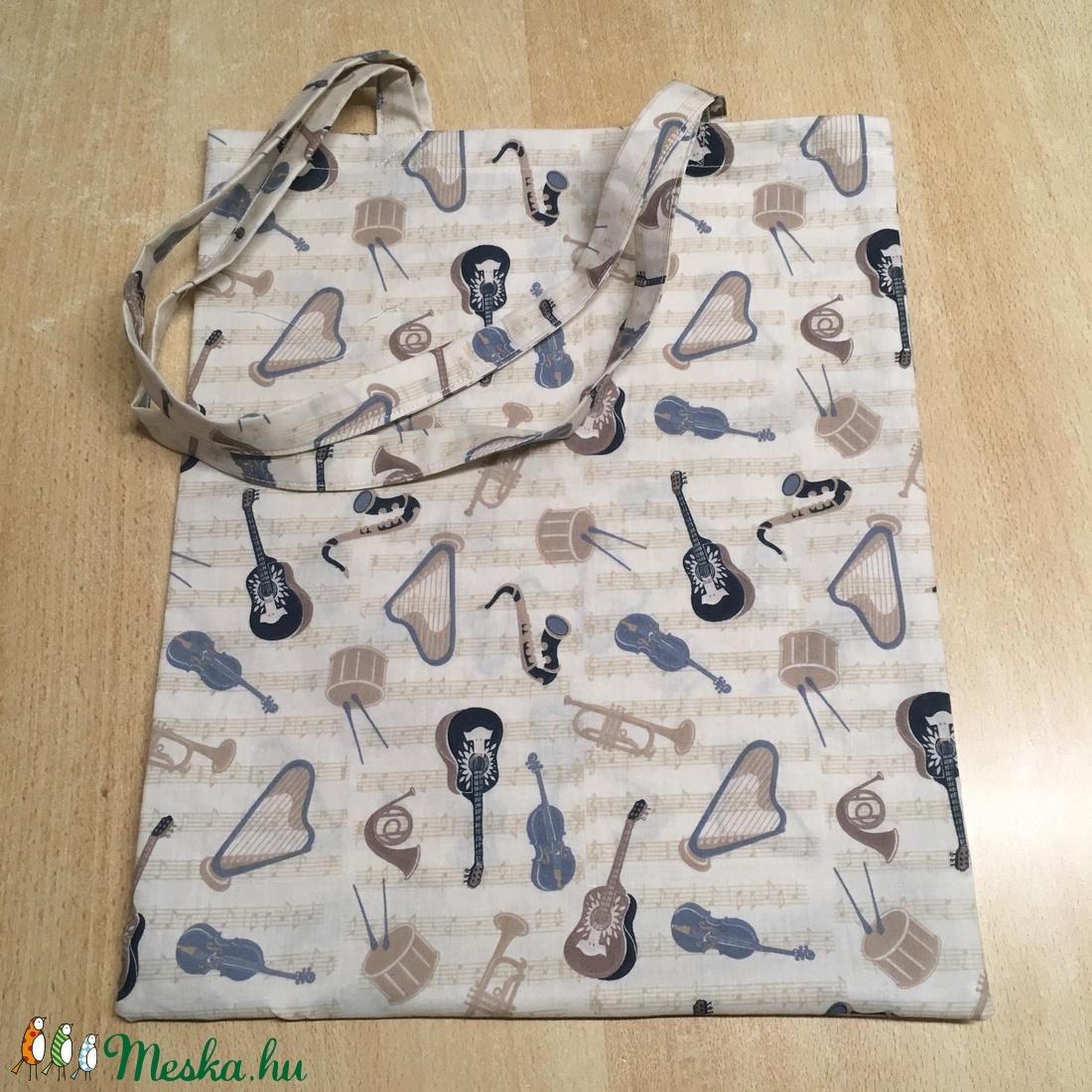 Hangszer mintás táska, szatyor, válltáska, bevásárló táska, tini vászon táska - táska & tok - kézitáska & válltáska - Meska.hu