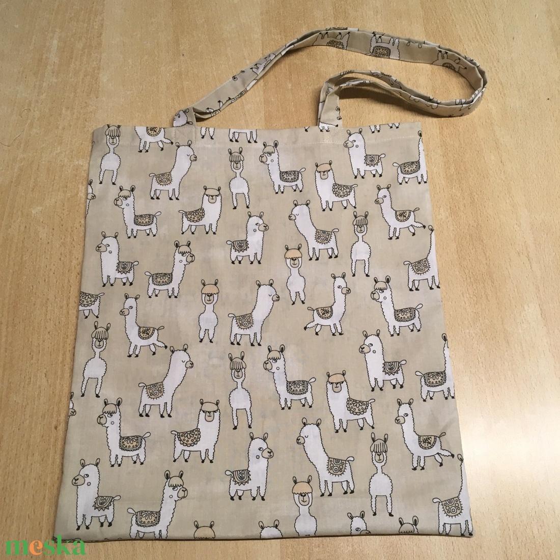 Lámás, alpakka mintás táska, szatyor, válltáska, bevásárló táska, tini vászontáska - táska & tok - bevásárlás & shopper táska - shopper, textiltáska, szatyor - Meska.hu