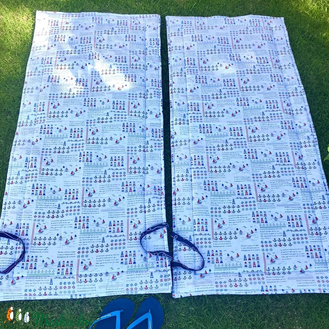 KIÁRUSÍTÁS - 2 darabos napozó szőnyeg, matrac, strandszőnyeg szett - tengerész, hajós mintával - otthon & lakás - ház & kert - Meska.hu
