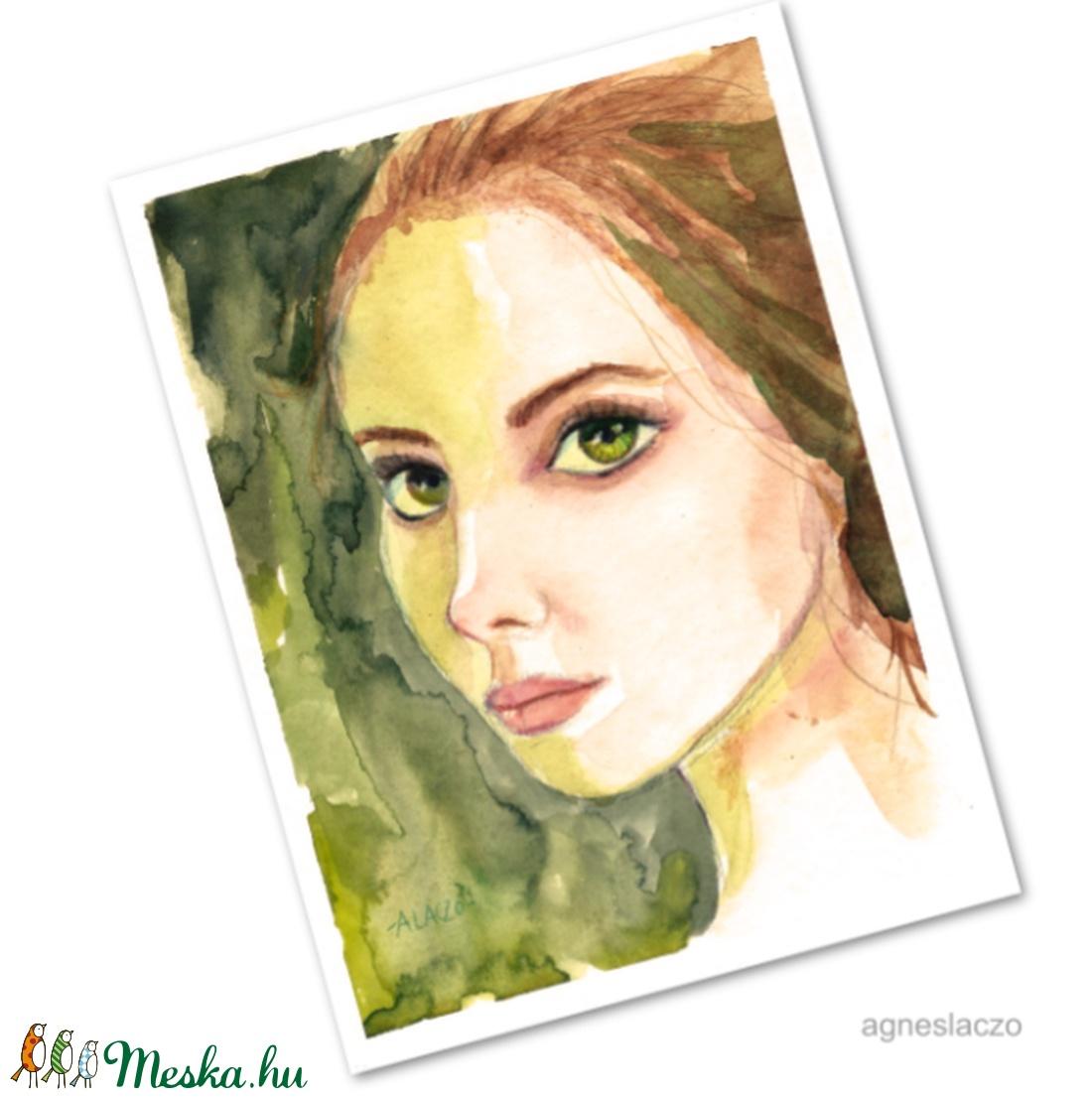 Zöldszemű lány - művészet - festmény - akvarell - Meska.hu