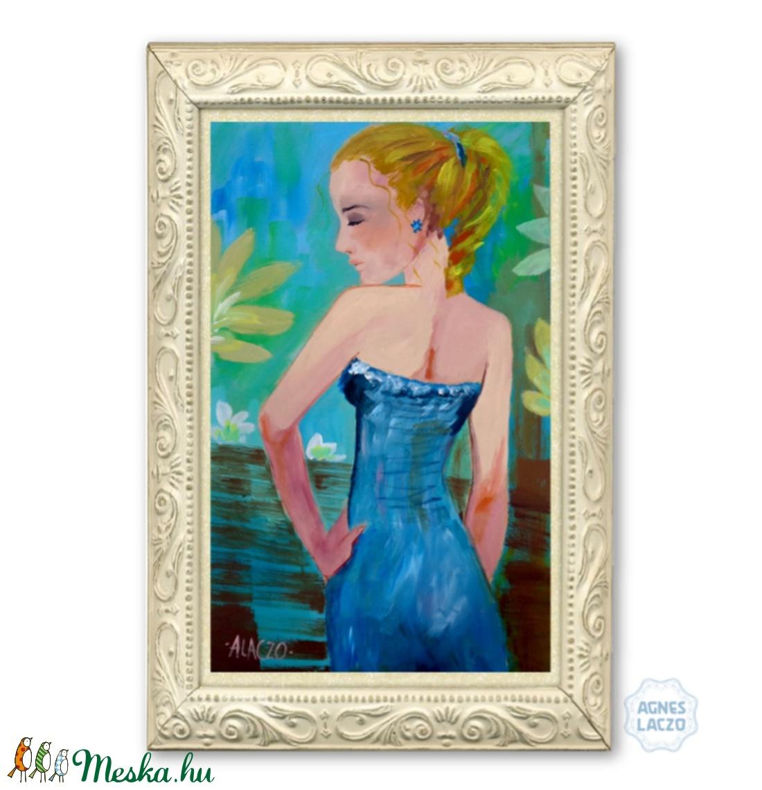 Kék ruha - művészet - festmény - akril - Meska.hu