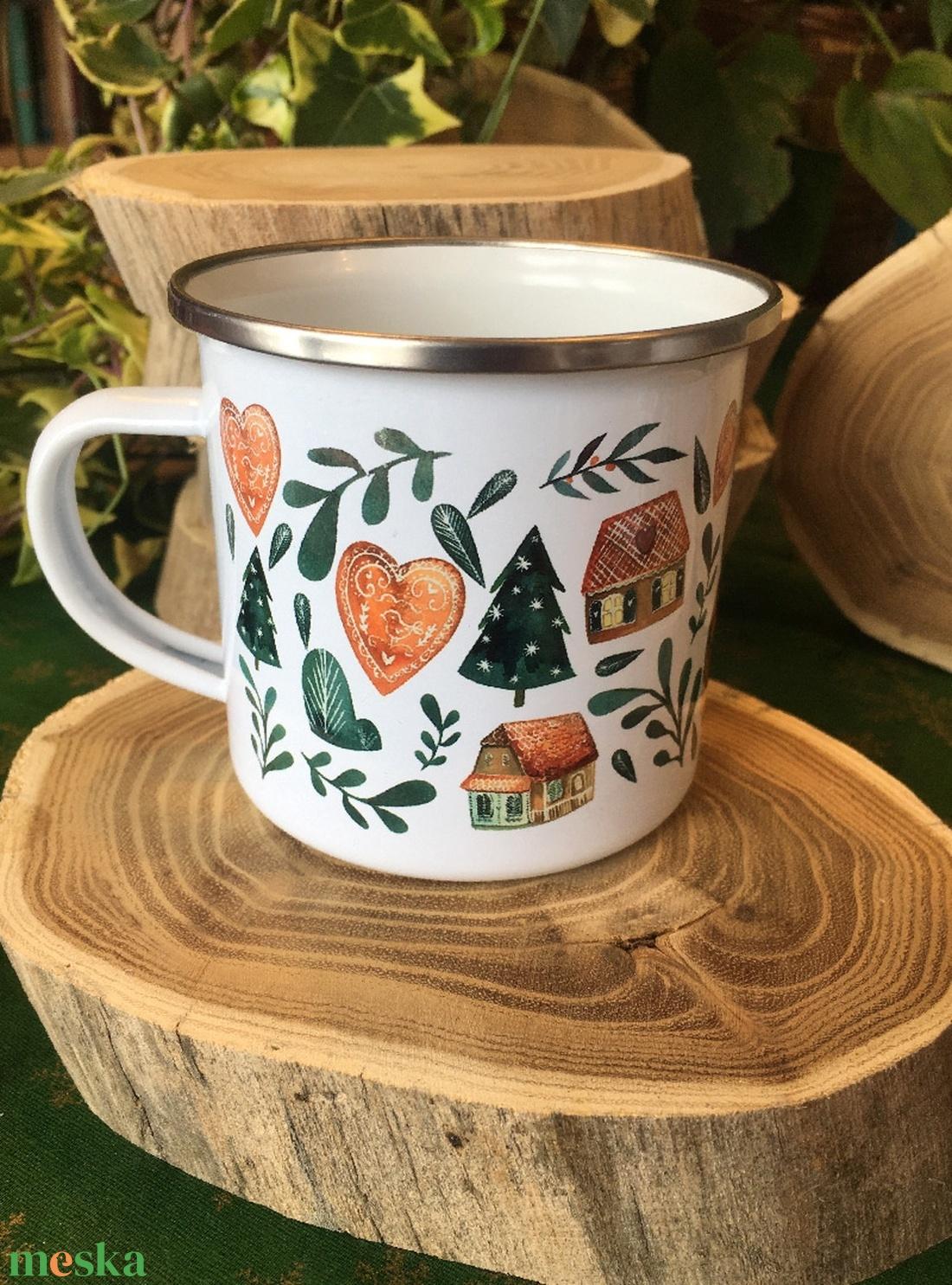 Manólányka mézeskaláccsal -zománcozott bögre - otthon & lakás - konyhafelszerelés - bögre & csésze - Meska.hu