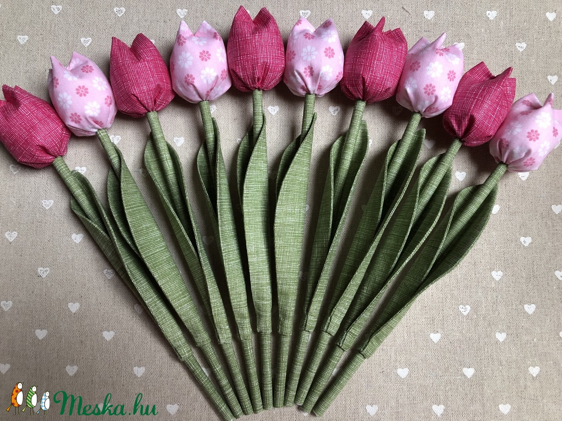 Textil tulipán /szett: 10 db/ ingyen ajándékkísérővel (FDesignbyFruzsina) - Meska.hu