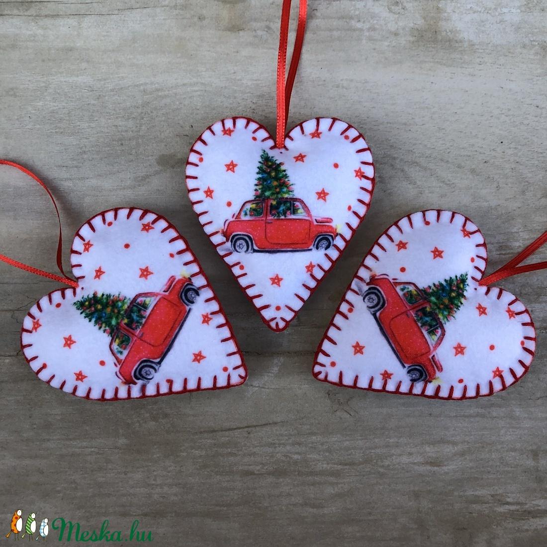 Filc szív karácsonyfadísz /szett: 3 db/ (FDesignbyFruzsina) - Meska.hu