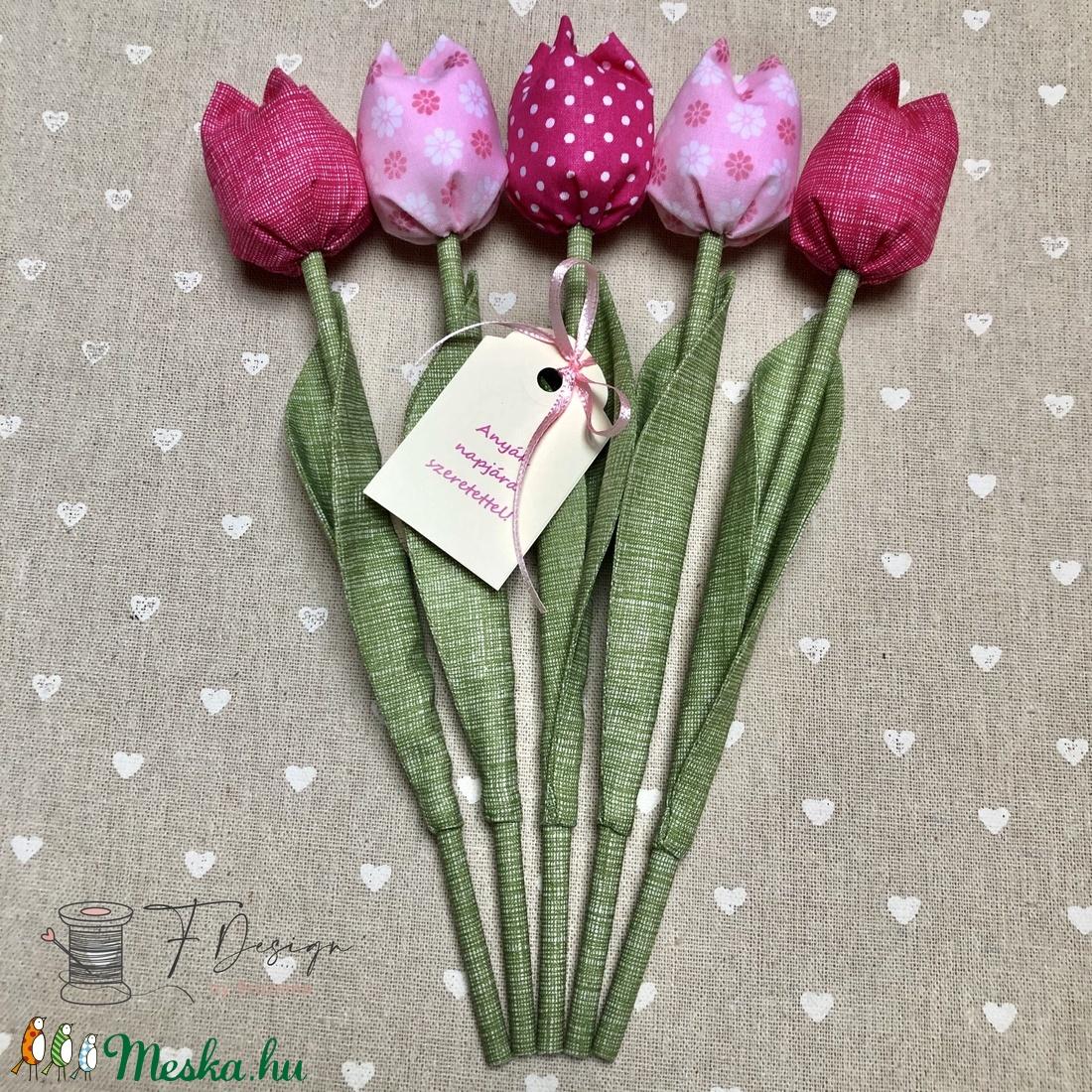 Anyák napi textil tulipánok / szett: 5 db/ ingyen ajándékkísérővel - Meska.hu