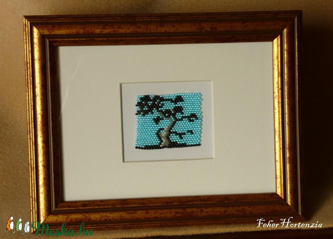 Japán fa gyöngykép (17x22 cm, kitámasztóval és akasztóval) - otthon & lakás - dekoráció - kép & falikép - Meska.hu