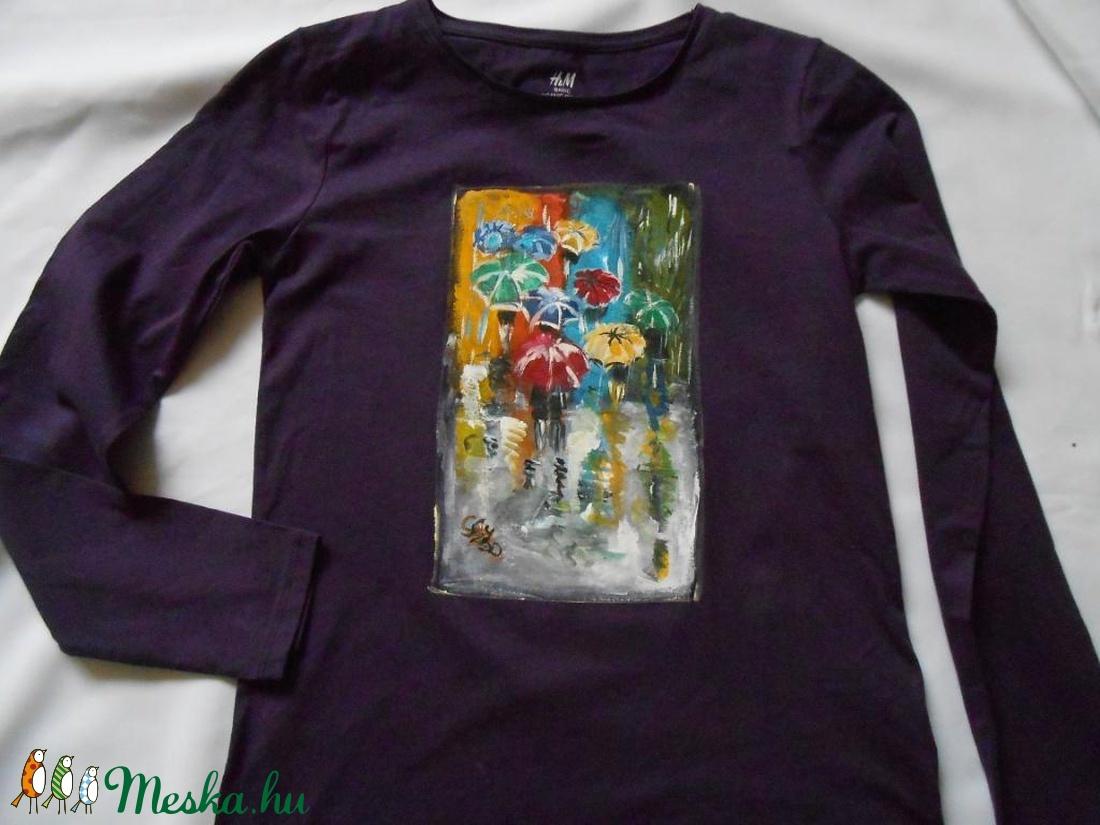 Párizs esőben kézzel festett póló PÓLÓIMAT RENDELŐIM HOZZÁK! (Fiffancsi) -  Meska.hu ac7e9c7917