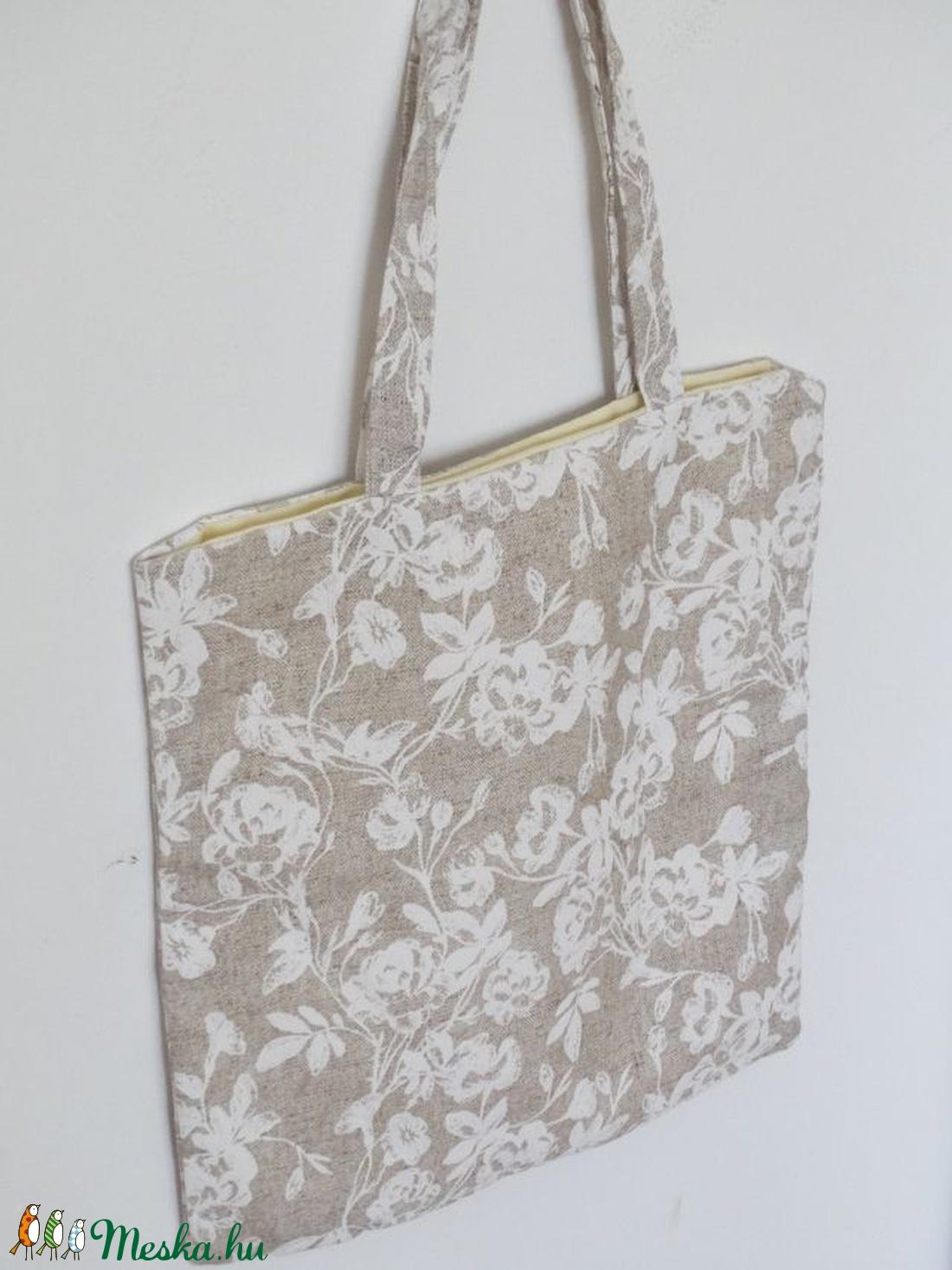 56338a8e47 Csipkeszerű virágos Bevásárló táska - Virágos bevásárlótáska - Virág mintás  Ökotáska - Csipkés Textil táska - shopper