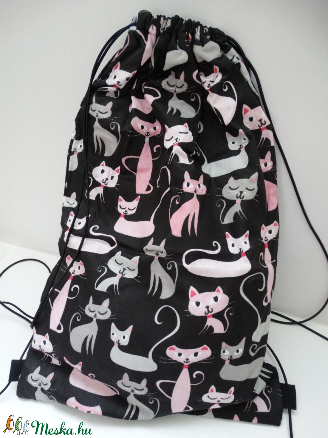 5a224b1ece30 Cicás hátizsák - Cicás tornazsák - Bélelt hátizsák - Bélelt tornazsák -  cica mintás - cicás textil táska - cicás táska