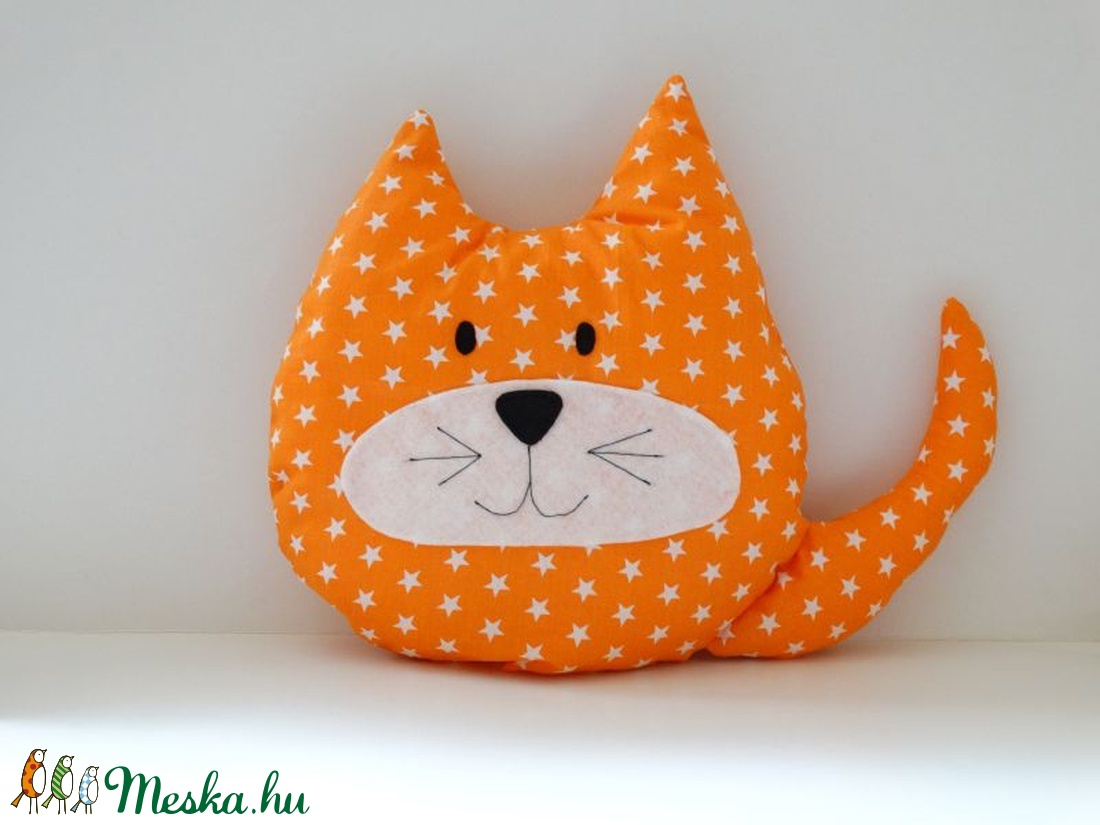 Narancssárga fehér csillagos Cica - Cica Figura - Cica párna - Textil játék  - Textil figura da258339eb
